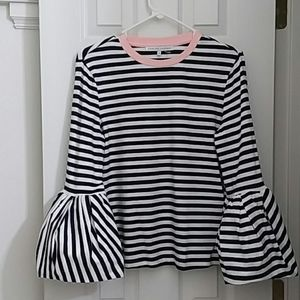 English factory striped top with bell sleeves